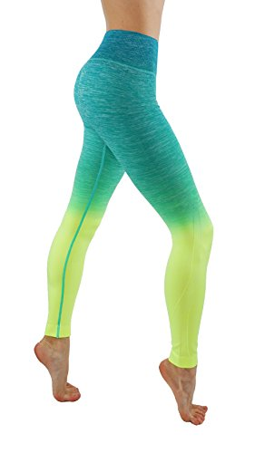lex Dry-Fit Pants Workout Printed Leggings Ombte Print XS-3XL (L USA 10-12, CF/L704-Jade N.Y.) ()