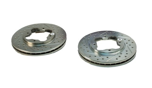 BAER 03287-020 Sport Rotors Slotted Drilled Zinc Plated Front Brake Rotor Set - Pair