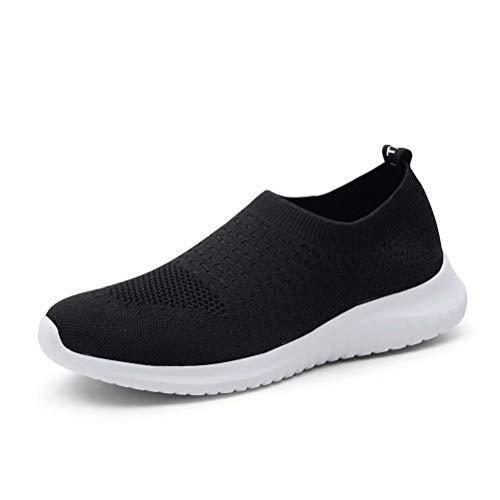 konhill Women's Walking Tennis Shoes - Lightweight Athletic Casual Gym Slip on Sneakers 8.5 US Black,40