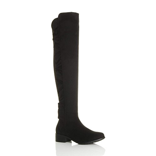 Ajvani Womens Ladies Low mid Block Heel Ruffle Curvy Stretch Zip Over The Knee high Boots Black Suede