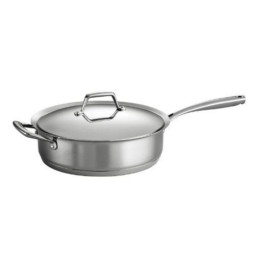 Tramontina 80101/022DS Gourmet Prima Stainless Steel, Induction-Ready, Impact Bonded, Tri-Ply Base Covered Deep Saute Pan, 5 Quart, Made in Brazil (Covered Base)