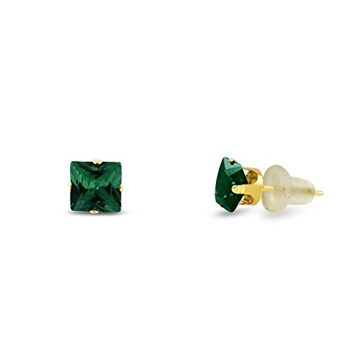 Simulated 3x3mm Square Princess Cut Emerald Green Solid 10K Yellow Gold 4-Prong Set Baby Stud Earrings