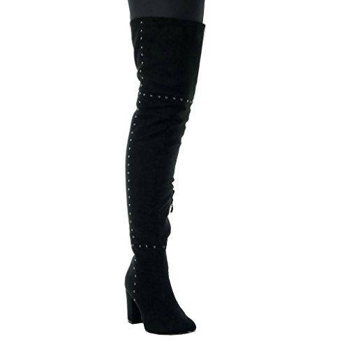 Angkorly - Zapatillas de Moda Botas Altas cavalier sexy flexible mujer tachonado Talón Tacón ancho alto 8 CM - plantilla Forrada de Piel Negro