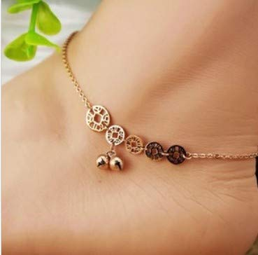 Coin Single Bracelet - Allergy 18 Valentine Gift Steel Rose Gold Color Fading bicyclic Single Layer Anti Foot Chain Anklet Ankle Bracelet Jewelry not Simple Waterproof (1# Five Coins Bell anklets