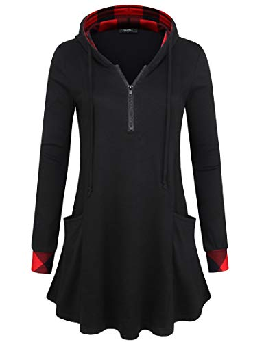 VALOLIA Zip Up Sweatshirt for Women, Ladies Breast-Feeding Color Block Plaid Sweatshirt Pullover Lightweight Hoodies Black L