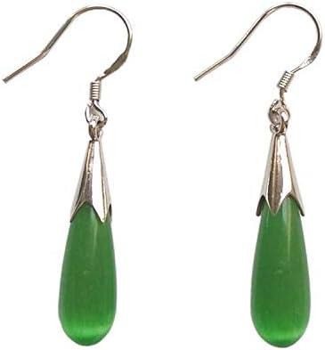 Pendientes de plata de ley 925 con diseño de gota de agua de jade verde