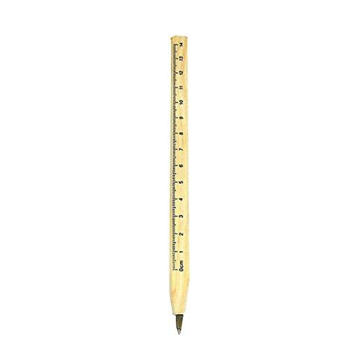 Zerama Wooden Scale Calibre Ballpoint Pen Oily Refill Environment Friendly Eco-Friendly Office School Stationery Ruler Ballpen