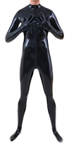 AvaCostume Men's Black Front Zipper Latex Catsuit Bodysui...