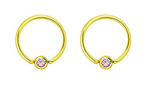Forbidden Body Jewelry Pair 16g 10mm Gold Tone Surgical Steel Aurora Borealis CZ Captive Bead Piercing Hoops, 4mm Balls