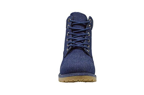 Golden Road Working Boots Lace up Ankle Combat Booties For Women (9, 13015 Jeans)