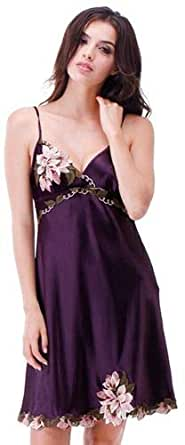 Silk Materials And V-neck Design For Ladies Nightwear-purple Color