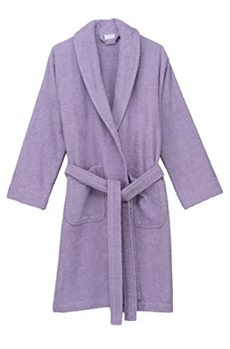 TowelSelections Women's Robe, Turkish Cotton Short Terry Bathrobe X-Small Purple Rose