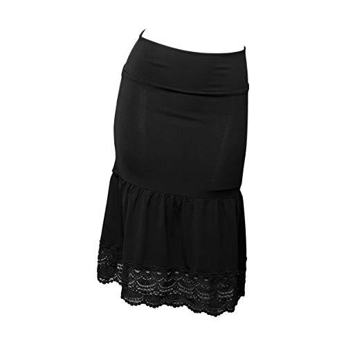 - Peekaboo-Chic Desert Rose Half Slip Skirt Extender - Crochet Trim Skirt Extender - Modest Skirt Extenders for Women - L/XL Black