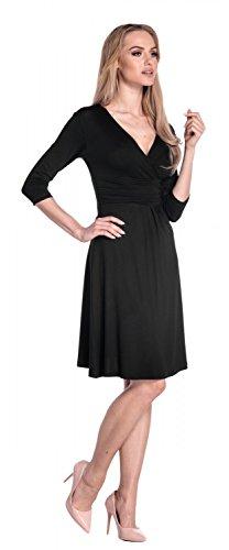 Glamour Empire Para Mujer Vestido Skater Fruncido Delantera Cruzada. 282A Negro