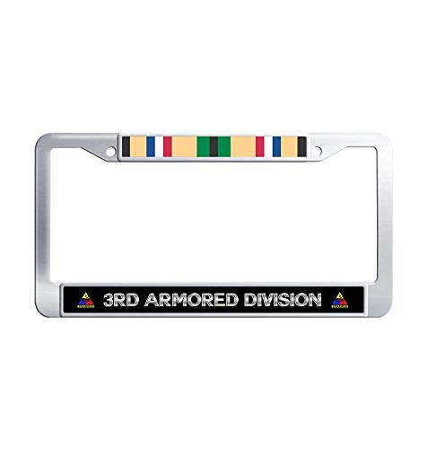 Toanovelty 3rd Armored Division Gulf War Veteran Service Ribbon Metal Car Licence Plate Covers, U.S. Army Spearhead Waterproof Stainless Steel Car Tag Frame 6' x 12' in ()