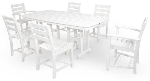 Trex Outdoor Furniture TXS118-1-CW Monterey Bay 7-Piece Dining Set, Classic White