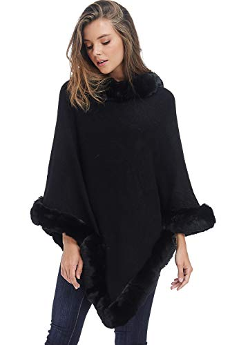Womens Faux Fur Sweater Poncho - Cape Winter Luxe Trim Shawl (Black, One ()