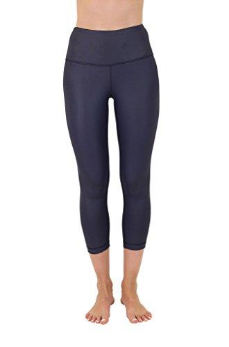 Shiny Violet - 90 Degree By Reflex High Waist Disco Pants - Shiny Hi-Rise Capri Leggings - Violet Storm - XS