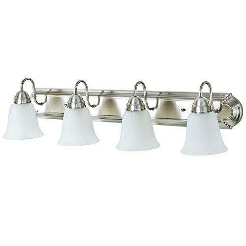 (Kingbrite 4 Bulb E26 Vanity Light Fixture for Bathroom, Brushed Nickel, Alabaster Glass)