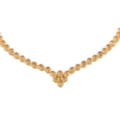 NOVICA Citrine 22k Gold Vermeil .925 Sterling Silver Link Necklace, 18.5