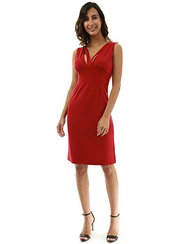Rouge dcoupes col Fonc Taille Femmes Robe v Empire PattyBoutik ICwZ0Xqf