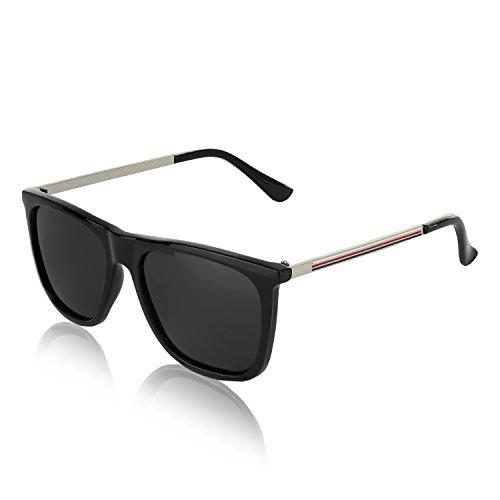 Wayfarer Polarized Sunglasses for Men and Women Retro Vintage Sun Glasses (Striped Black, - Sunglass H