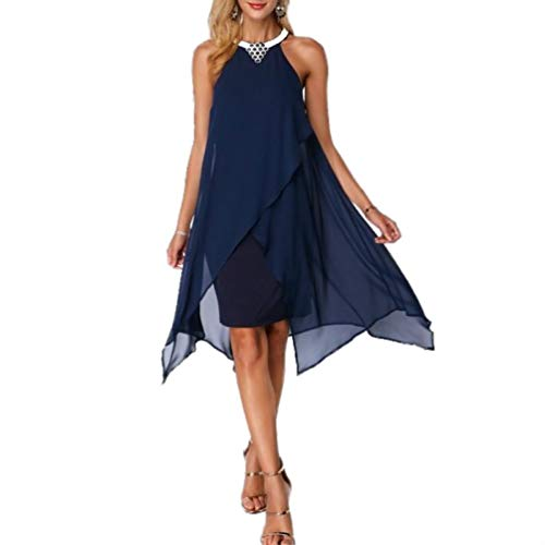 onecome Embellished Neck Zipper Asymmetric Hem Chiffon Dress Navy Blue ()