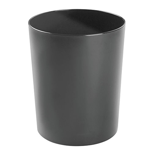 Kids Wastebaskets (mDesign Round Metal Small Trash Can Wastebasket, Garbage Container Bin for Bathrooms, Powder Rooms, Kitchens, Home Offices - Durable Steel - Black)