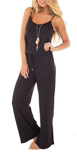 NuoReel Women Casual Sleeveless Loose Wide Legs Jumpsuit Halter Waist Tie Stretchy Rompers Pants With Side Pockets£¨Black Meduim£