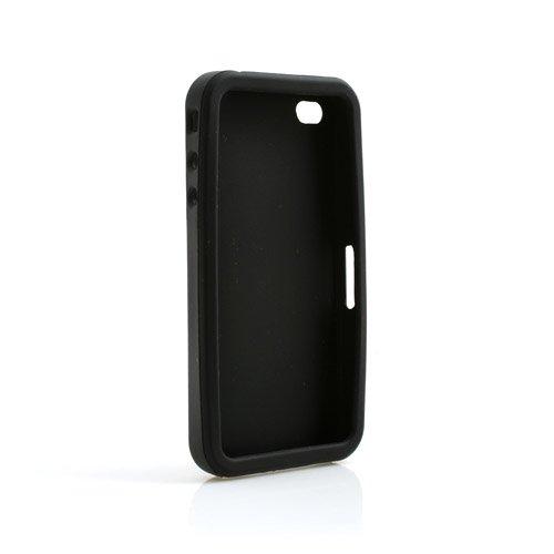 System-S Schwarze Silikon Skin Hülle Case für Apple iPhone 4G