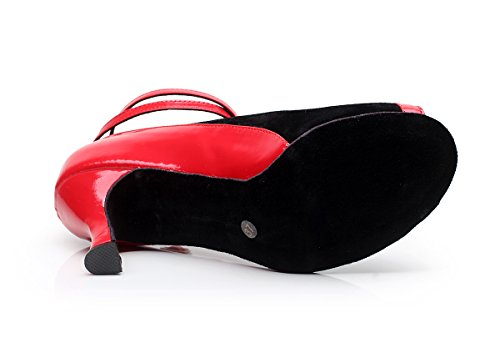 Tda Qj9001 Delle Donne Peep Toe In Pelle Scamosciata Salsa Tango Sala Da Ballo Latino Partito Scarpe Da Ballo Rosso