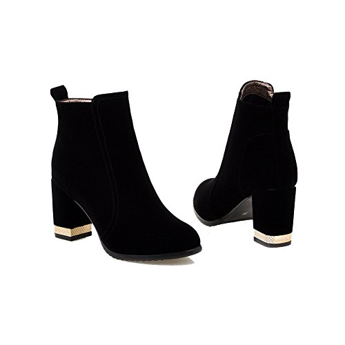 Zipper Allhqfashion Low Heels High Women's Top Frosted Black Boots Solid rwq0rUFB