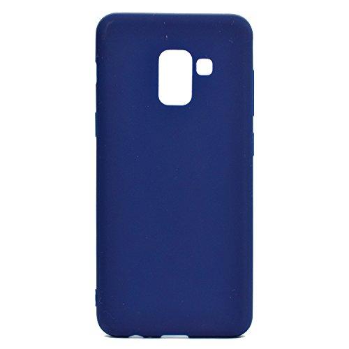 Funda para Samsung Galaxy A8 Plus 2018 (SM-A730) , IJIA Puro Rojo TPU Silicona Suave Cover Tapa Caso Parachoques Carcasa Cubierta Case para Samsung Galaxy A8 Plus 2018 (6.0) Blue