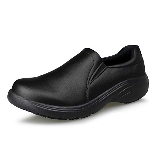 Hawkwell Women's Lightweight Comfort Slip Resistant Nursing Shoes,Black PU,8 M US