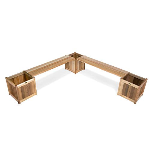 Western Red Cedar Beams - All Things Cedar PLB60-5P Planters with Benches, 5-Piece