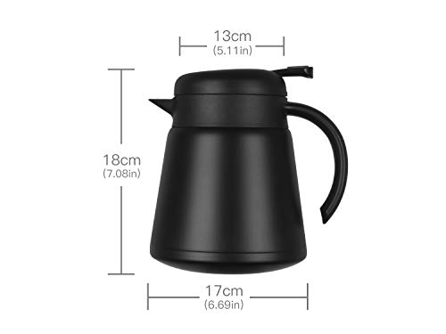 Luvan 304 18/10 Stainless Steel Thermal Carafe/Double Walled Vacuum Insulated Coffee Pot with Press Button Top,24+ Hrs Heat&Cold Retention,BPA Free,for Coffee,Tea,Beverage etc (Black, 27 OZ) by Luvan (Image #6)