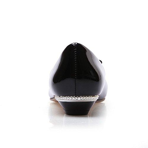 Amoonyfashion Womens Pull En Cuir Verni Pointu Bout Fermé Talons Bas Solides Pompes-chaussures Noir