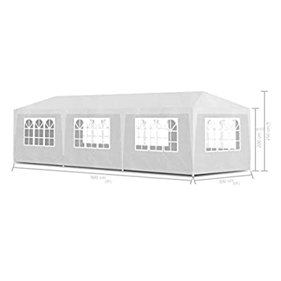GOTOTOP Party Tent,10x30 Feet Canopy Tent Wedding Party Waterproof Gazebo Pavilion Outdoor Gazebo with 8 Walls and Steel Frame,White: Sports & Outdoors