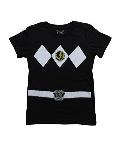 Power Rangers Black Ranger Costume Black Juniors T-Shirt Tee (Juniors Large) (Junior Costumes)