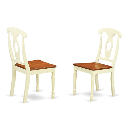East West Furniture KEC-WHI-W Napoleon-Styled Dining Chair Set with Wood Seat, Set of 2