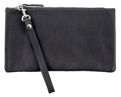SLATE COLLECTION Fremont Wristlet, Clutch, Full-grain Leather (Midnight)