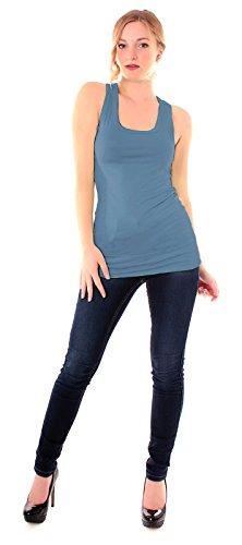 Easy Young Fashion - Camiseta sin mangas - Básico - Cuello redondo - para mujer Jeansblau