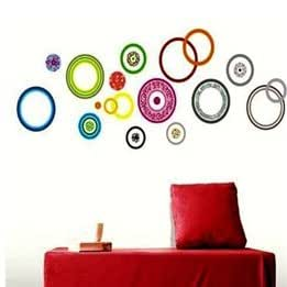 Fashion Colorful Circles Bedroom Living Room TV Sofa Decorative Plane Wall Decal Stickers