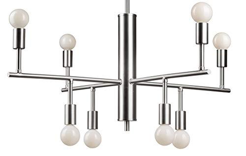 (Forte Lighting 7091-08-55 Signature 8 Light 28 inch Brushed Nickel Chandelier Ceiling Light)