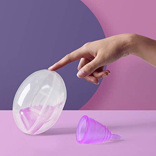 Joybeau Paquete de 2 Copa Menstrual blandas, Copa reutilizables, silicona de grado médico, súper cómodas y flexibles, para usar durante 12 horas