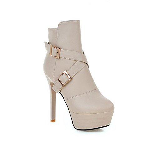 AgooLar Women's Zipper High Heels PU Solid Low-top Boots Beige dIAFOukDnd