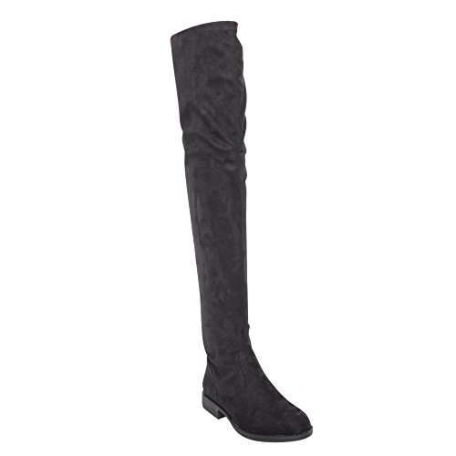 Black Stretch Thigh High Boots (Bamboo Montana-53 Women's Stretch Side Zipper Snug Fit Thigh High Riding Boots,Black Suede,6.5)