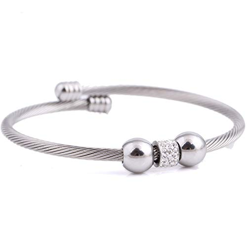 ZSML Women's Cable Wire Bangles, Fashion Titanium Steel Beads Water Diamond Bracelet Retro Girl Jewelry Christmas Day Gifts