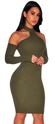 La Vogue Femme Robe Tricot Vert Epaule Dos Nu Décolleté Moulante Soirée