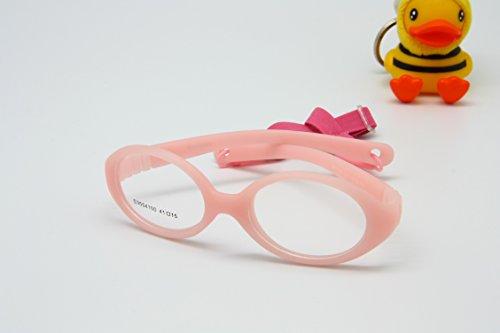 EnzoDate Flexible No Screw Girls Eyewear Size 41/15 with Cord, Boys Glasses & Strap, Children Eyeglasses, Baby Eyeglasses Bendable Safe (pink) from EnzoDate